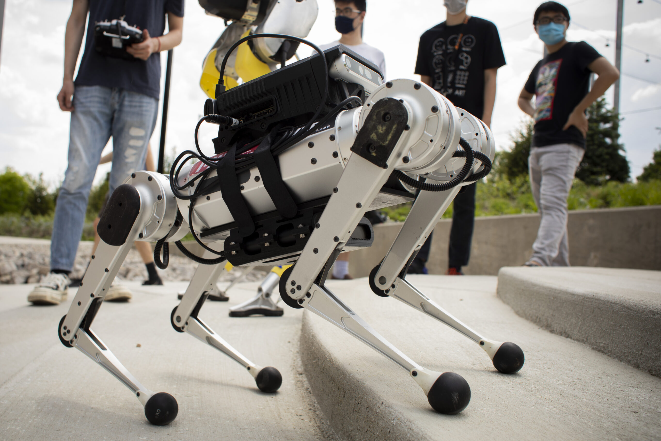 A Mini-Cheetah robot at The University of Michigan. Photo: Robert Coelius, University of Michigan Engineering.