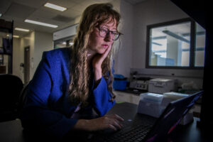 Melissa Lemke, a PhD candidate in biomedical engineering, is part of a University of Michigan research team using computational tools to predict how vaccines will trigger antibodies in individuals.