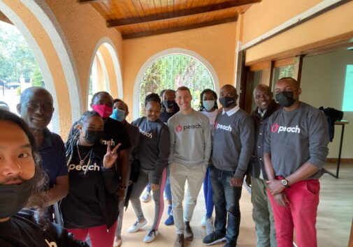 First Fellow, Zachary Petroni, with his Peach team in Kenya.
