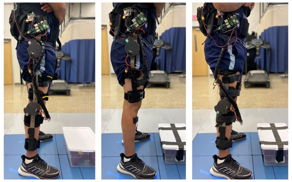 Preliminary knee and hip designs for a new powered exoskeleton system. It attaches motors to off-the-shelf orthotic braces to provide better mobility to the wearer. Image credit: Locomotor Control Systems Laboratory, University of Michigan