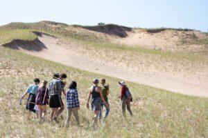 U-M undergraduates perform fieldwork in a flagship Northern Michigan dune habitat. Image credit: Alexis Rankin