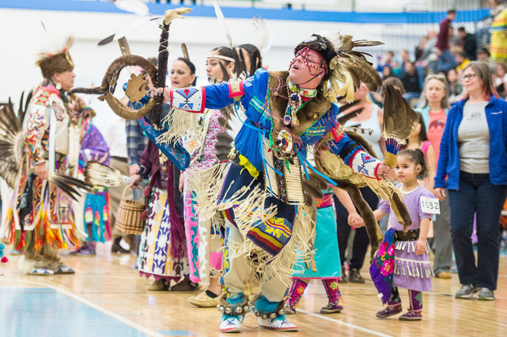 """There is a continued effort nationwide to rename """"Columbus Day"""" to """"Indigenous Peoples Day,"""" which celebrates the contributions of Native Americans to this country. Events such as the annual Dance for Mother Earth Powwow, which is held in Ann Arbor, renews and strengthens Native American culture. Image credit: Austin Thomason, Michigan Photography"""
