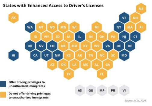 States with Enhanced Access to Driver's Licenses chart.