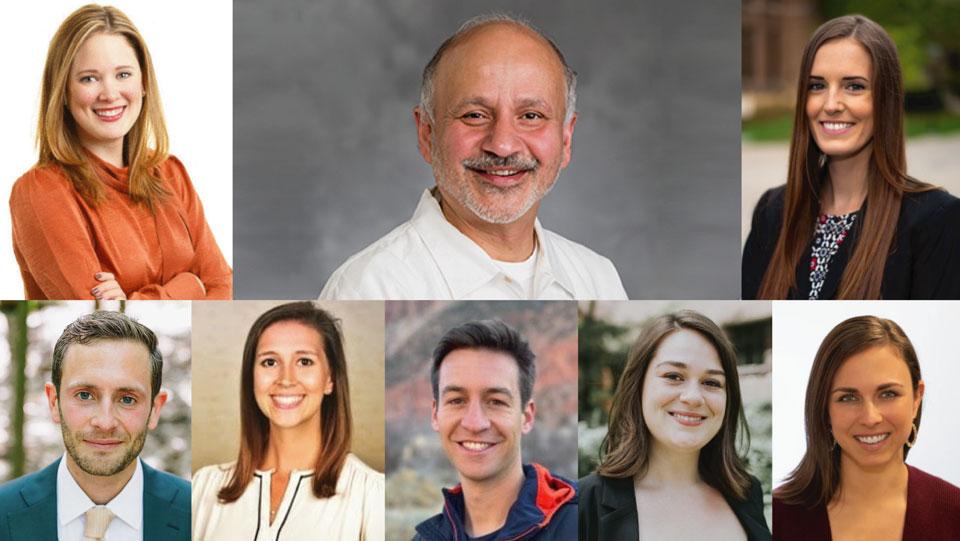 From top left clockwise: Chelsea Parker, Dr. Gautam Kaul, Laura Dyer, Janet Genser, Colleen Sain, Sam Buck, Olivia Rath, John Pontillo
