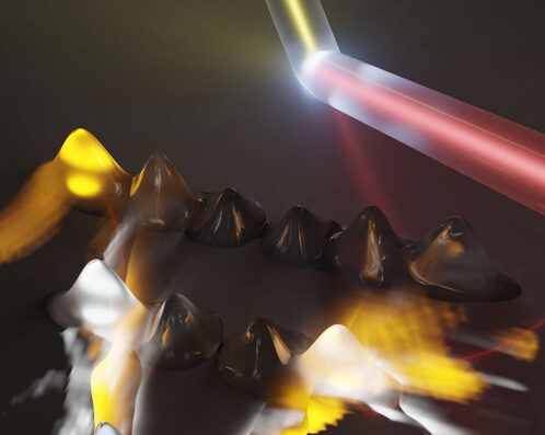 "The electrons absorb laser light and set up ""momentum combs"" (the hills) spanning the energy valleys within the material (the red line). When the electrons have an energy allowed by the quantum mechanical structure of the material—and also touch the edge of the valley—they emit light. This is why some teeth of the combs are bright and some are dark. By measuring the emitted light and precisely locating its source, the research mapped out the energy valleys in a 2D crystal of tungsten diselenide. Image credit: Markus Borsch, Quantum Science Theory Lab, University of Michigan."